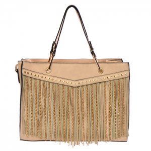 Fringe Chain Stud Accent Faux Leather Handbag 34015 - Beige