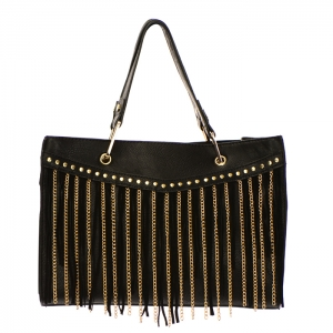 Fringe Chain Stud Accent Faux Leather Handbag 34015 - Black