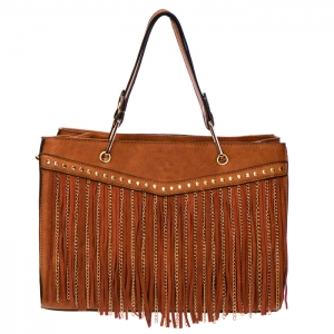 Fringe Chain Stud Accent Faux Leather Handbag 34015 - Brown
