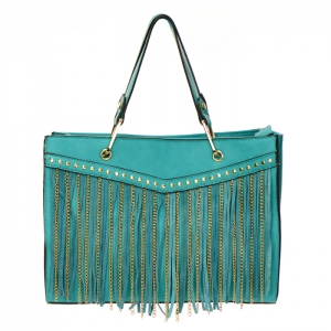 Fringe Chain Stud Accent Faux Leather Handbag 34015 - Teal