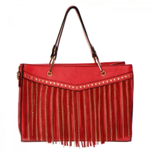 Fringe Chain Stud Accent Faux Leather Handbag 34015 - Red