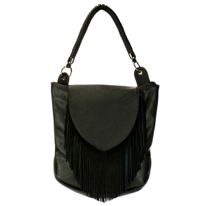 Fringe Faux Leather Hobo Handbag 34035 - Black