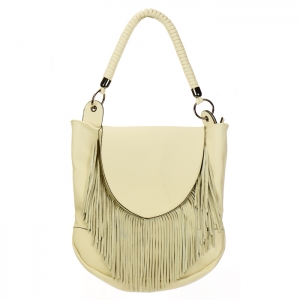 Fringe Faux Leather Hobo Handbag 34035 - Ivory