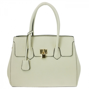 Lock Accent Faux Leather Metal Frame Kiss Clasp Lock Handbag 34072 - Off White