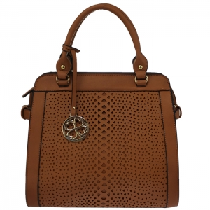 Faux Leather Laser-Cut Handbag with Gold Charm 34079 - Brown