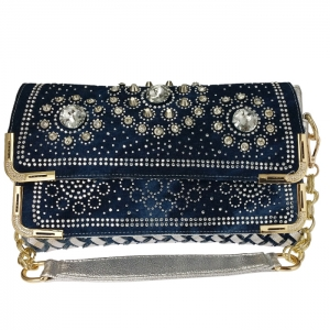 Metallic Jean Woven Fabric with Studs and Rhinestones Accent Handbag 34082 - Blue/Silver/Gold