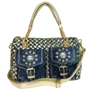 Metallic Jean Woven Fabric  Double Front Pocket with Studs and Rhinestones Accent Handbag 34084 - Blue/Gold