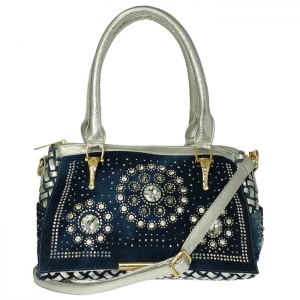 Metallic Jean Woven Fabric Front Flap with Studs and Rhinestones Accent Handbag 34085 - Blue/Silver/Gold