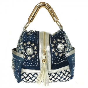 Metallic Jean Woven Fabric with Studs and Rhinestones Accent Square Pouch Bag 34087 - Blue/Silver/Gold