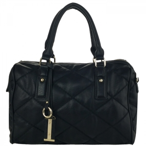 Diamond Quilted Chain Stitched Faux Leather with Charms Tube Handbag 34093 - Black