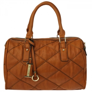 Diamond Quilted Chain Stitched Faux Leather with Charms Tube Handbag 34093 - Brown