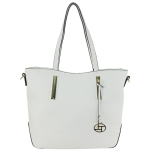 Faux Leather Gold Accents with Charm Tote Bag 34122 - White