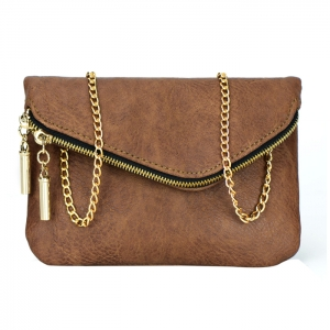 Faux Leather Folded Zipper Flap Clutch Purse 34147 - Brown