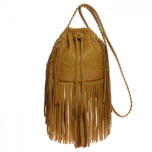 Fringe Faux Leather Studded Crossbody Bag 34155 - Tan