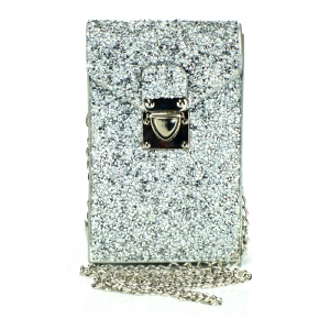 Rhinestone Accent Double Pocket Mini Rectangle Clutch Purse 34159 - Silver