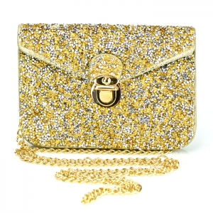 Rhinestone Accent Double Pocket Mini Clutch Purse 34162 - Gold