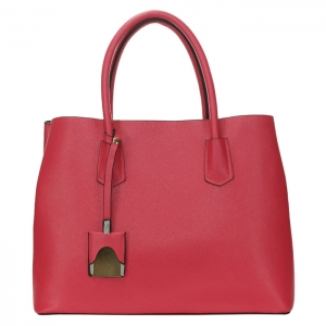 Designer Inspired Faux Leather Tote Bag with Charm 34165 - Fuchsia