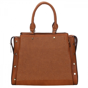 Studded Faux Leather Metal Accents Handbag 34169 - Tan