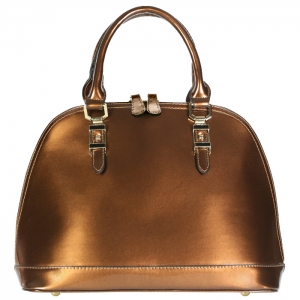 Patent Leather Zipper Top Shiny Metallic Handbag 34195 - Brown