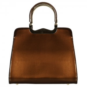 Shiny Patent Leather Metal Handle Handbag 34201 - Brown