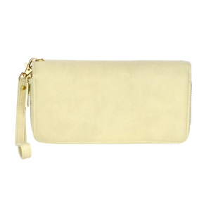 Double Zipper Compartment Faux Leather Wallet 34218 - Beige