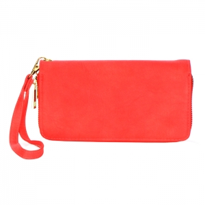 Double Zipper Compartment Faux Leather Wallet 34218 - Coral
