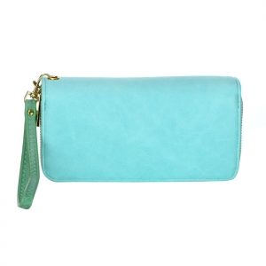 Double Zipper Compartment Faux Leather Wallet 34218 - Mint