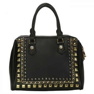 Chain and Stud Accent Faux Leather Handbag 34223 - Black