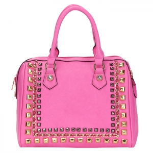 Chain and Stud Accent Faux Leather Handbag 34223 - Pink