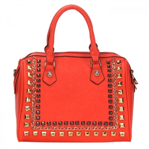 Chain and Stud Accent Faux Leather Handbag 34223 - Coral