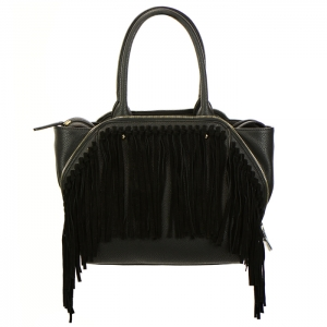 Fringe Faux Leather Zipper Accent Handbag 34300 - Black