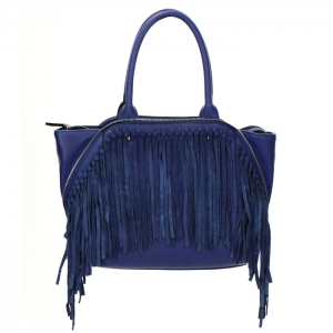 Fringe Faux Leather Zipper Accent Handbag 34300 - Cobalt Blue