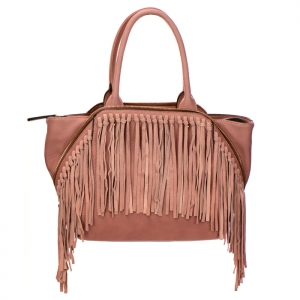 Fringe Faux Leather Zipper Accent Handbag 34300 - Mauve