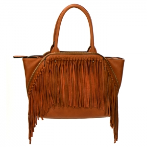 Fringe Faux Leather Zipper Accent Handbag 34300 - Tan
