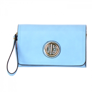 Designer Inspired Faux Leather Metal Accents Clutch Bag 34305 - Aqua