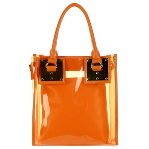 Metal Plate Jelly Tote Bag with Detachable Pouch 34310 - Orange