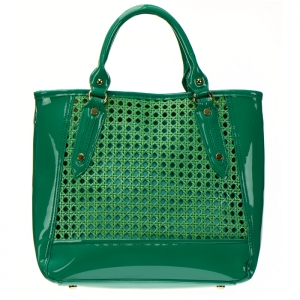 Woven Patent Leather Mini Tote Bag with Detachable Pouch 34384 - Green