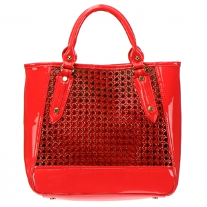 Woven Patent Leather Mini Tote Bag with Detachable Pouch 34384 - Red
