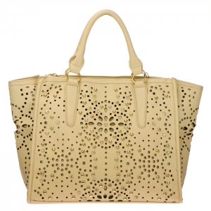 Laser Cut Studded Rhinestone Faux Leather Tote Bag 34388 - Beige