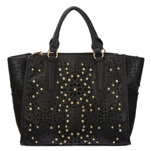 Laser Cut Studded Rhinestone Faux Leather Tote Bag 34388 - Black