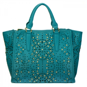 Laser Cut Studded Rhinestone Faux Leather Tote Bag 34388 - Turquoise