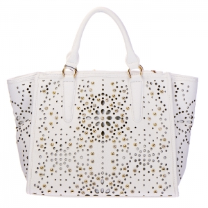 Laser Cut Studded Rhinestone Faux Leather Tote Bag 34388 - White