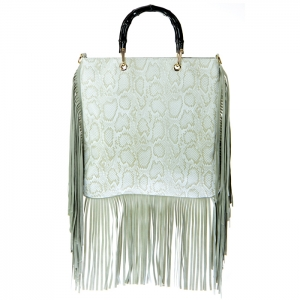 Bamboo Style Hard Handle Snake Skin Leather Fringe Bag 34419 - Gray