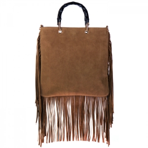 Bamboo Style Hard Handle Felt Leather Fringe Bag 34419 - Khaki
