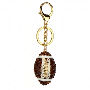 Rhinestone Football Keychain 34440 - Gold