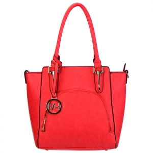 Designer Inspired Faux Leather Tote Bag with Charm 34478 - Coral