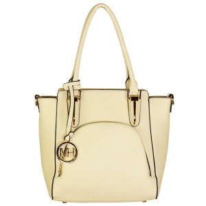 Designer Inspired Faux Leather Tote Bag with Charm 34478 - Off White