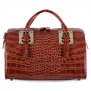 Crocodile Skin Faux Leather Tube Handbag 34557 - Cognac