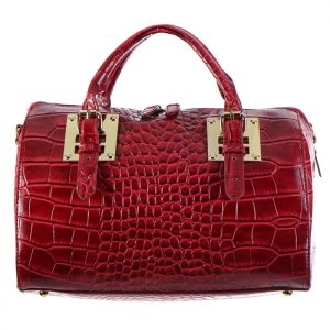 Crocodile Skin Faux Leather Tube Handbag 34557 - Red