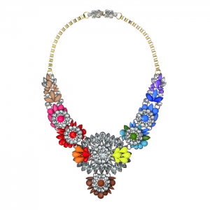 Colorful Acrylic and Rhinestone Statement Necklace 34578 - Multicolor2